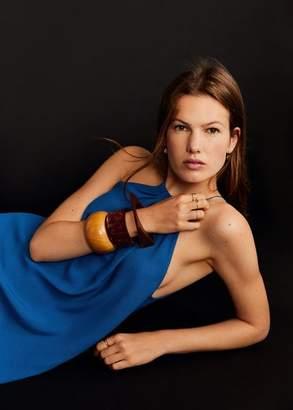 MANGO Pack wooden bracelets brown - One size - Women