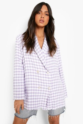 boohoo Dogtooth Woven Double Breasted Boxy Blazer