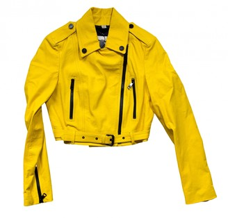 Burberry Yellow Leather Leather Jacket for Women