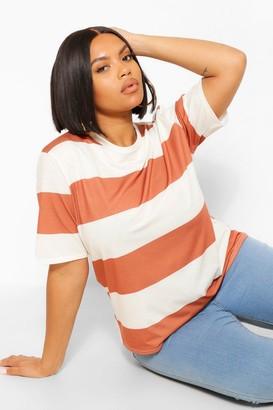 boohoo Plus Wide Stripe Short Sleeve T-shirt