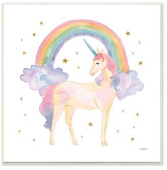 The Kids Room by Stupell Cute Unicorn Kids Nursery Rainbow Watercolor Design Wall Plaque Art by Jenaya Jackson