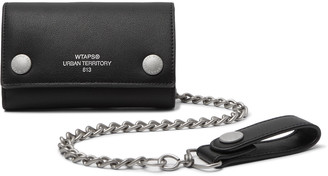 Wtaps Chain-Embellished Logo-Print Faux Leather Wallet