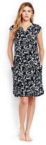 Lands' End Women's Petite Cotton Cap Sleeve Cover-up Dress-Black/White Etched Scroll