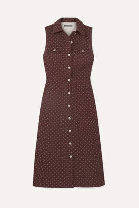 ALEXACHUNG Floral-print Denim Midi Dress - Dark denim