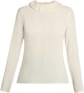 Goat Cameo ruffled-collar silk-crepe blouse