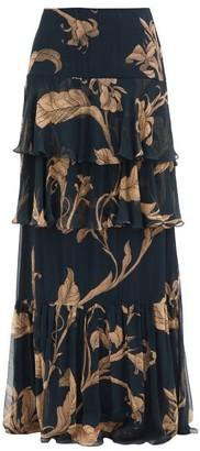 Johanna Ortiz Printmaker Floral-print Tiered Chiffon Skirt - Navy Print