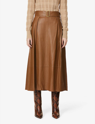 Vince Belted high-waist leather midi skirt