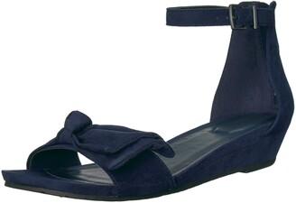 Kenneth Cole Reaction Women's Start Low Wedge Sandal Bow Detail Microsu