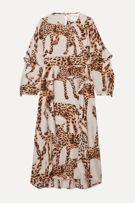 MUNTHE Ruffled Animal-print Voile Midi Dress - Ecru