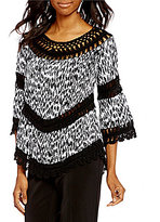 Multiples Double V-Neck 3/4 Bell Sleeve Print Top