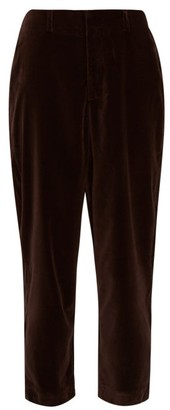 ÀCHEVAL PAMPA Al Viento High-rise Velvet Tapered Trousers - Brown