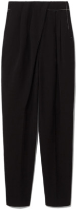 Proenza Schouler Draped Front Pant with Topstitch in Black