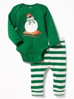 Old Navy Holiday-Graphic Bodysuit & Patterned Pants Set for Baby