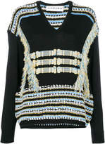 Carven embroidered long-sleeve sweater