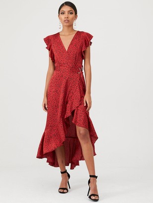 AX Paris Spotty Frill Wrap Dress - Red