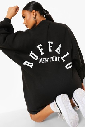 boohoo Plus Buffalo Slogan Sweat Dress
