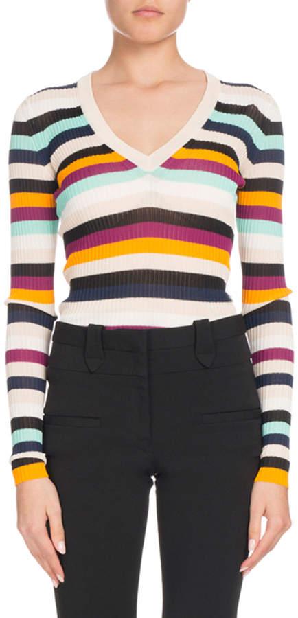 Altuzarra V-Neck Long-Sleeve Striped Ribbed Knit Sweater