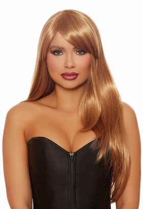 Dreamgirl Women's Long Straight Layered Honey Brown Wig One Size