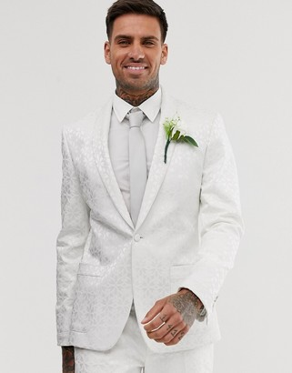 ASOS DESIGN wedding skinny tuxedo jacket in white jacquard