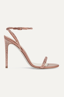 Rene Caovilla Crystal-embellished Satin And Metallic Leather Sandals - Antique rose