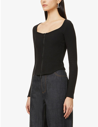 Good American Zip-up stretch-cotton top