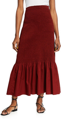 A.L.C. Lyra Smocked Long Skirt