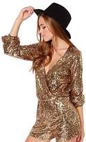 SZIVYSHI Women's en Sequin Wrap Long Sleeve V Neck Low Cut Jumpsuits & Rompers