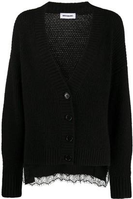 Brognano Ribbed Lace-Embellished Cardigan