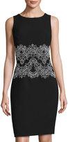 Karl Lagerfeld Sleeveless Lace-Waist Sheath Dress, Noir/Blanc