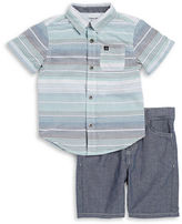 Calvin Klein Jeans Boys 2-7 Two-Piece Striped Shirt and Denim Shorts Set