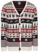 George Cream Christmas Novelty V Neck Christmas Cardigan