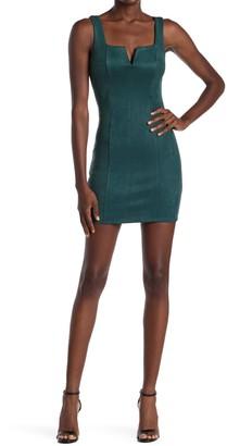 Bailey Blue Faux Suede Notch Neck Mini Dress
