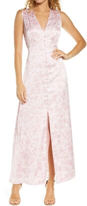 WAYF The Francis Floral Print Satin Maxi Dress