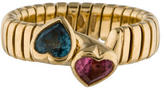 Bvlgari Blue Topaz and Pink Tourmaline Tubogas Ring