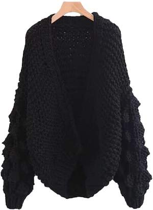 Goodnight Macaroon 'Abbey' Hand-knitted Pom Pom Sleeve Chunky Cardigan - Black