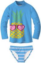 Sunshine Swing Girls' Bikini Bottoms - Blue Pineapple Stripe Rashguard Set - Toddler & Girls