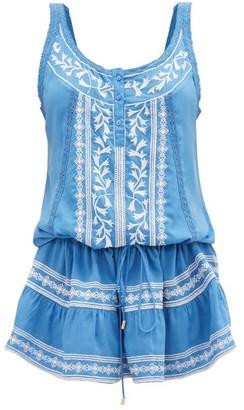 Melissa Odabash Jaz Embroidered Mini Dress - Womens - Blue White