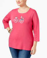Karen Scott Plus Size Bike Graphic Top, Only at Macy's