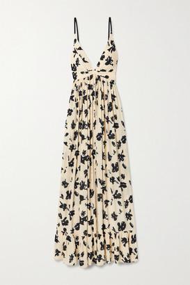 Proenza Schouler Floral-print Crepe De Chine Maxi Dress - Sand