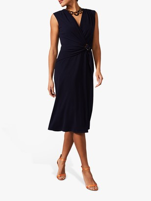Phase Eight Buckle Waist Crepe Dress, Navy