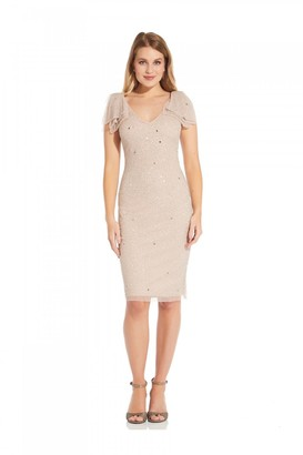 Adrianna Papell Beaded V-Neck Cocktail Dress In Almond Cream