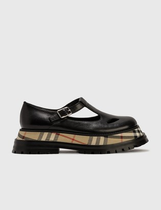 Burberry Smooth Leather T-bar Shoes With Check Detail