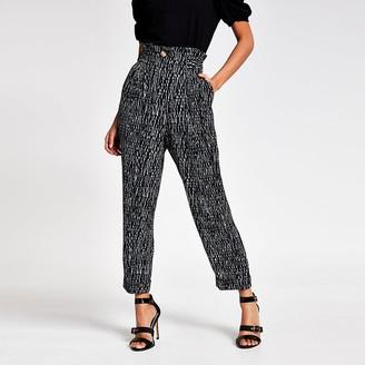 River Island Black printed buckle peg leg trousers