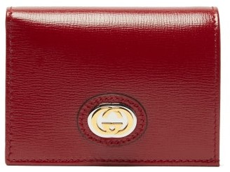 Gucci Gg-plaque Grained-leather Bi-fold Wallet - Womens - Burgundy