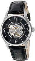 Stuhrling Original Men's Automatic Watch with Black Dial Analogue Display and Black Leather Strap 557.02