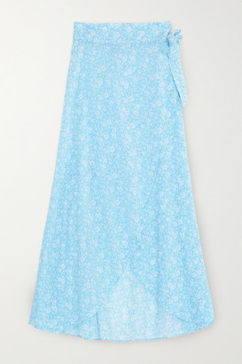 Ganni Floral-print Cotton-voile Wrap Midi Skirt - Light blue