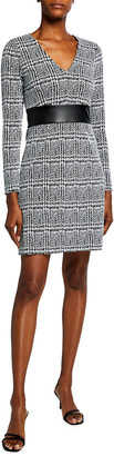 MICHAEL Michael Kors Plaid Jacquard V Neck Sheath Dress