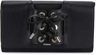 Perrin Paris Le Corset Black Grained Leather Clutch