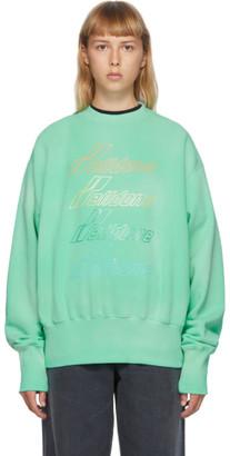 we11done Green Iridescent Logo Sweatshirt