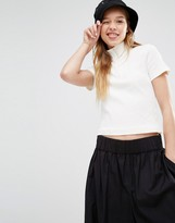 Weekday Crop High Neck T-Shirt with Zip